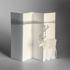 PORIGAMI - REINDEER from FESTIVITIES collection - greeting card made of FSC certified graphic paper, 10.5x20 cm when folded
