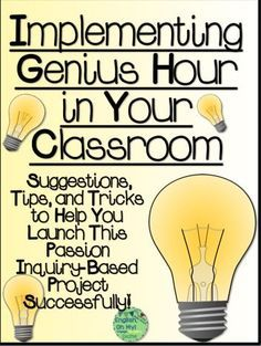 "Implementing Genius Hour in Your Classroom: ""Genius Hour"" (similar to project based learning), where students have the freedom and the means to self-direct their study and excel in their own interests and passions. Inquiry Based Learning, Project Based Learning, Teaching Technology, Problem Based Learning, Technology Tools, Learning Activities, Genious Hour, Gifted Education, Special Education"