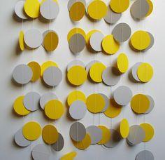 Paper Garland 16' Yellow and Gray Circles Etsy