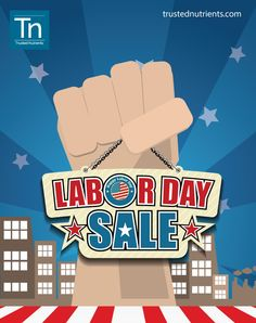 Because you've worked hard this year we give you a break this Labor Day.   From today to september 1st buy any of our supplements at www.trustednutrients.com and use the coupon code LABORDTN when checking out to receive 20% discount.   Happy Labor Day! :) #LaborDay