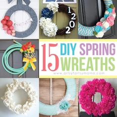 15 DIY Spring Wreaths at artsyfartsymama.com #wreath #diywreath