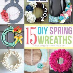 15 DIY Spring Wreaths at artsyfartsymama.com #wreath #diywreath