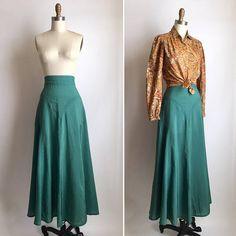 70s silk maxi skirt m vintage forest green flowy skirt