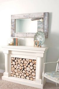 Pallet Mirror... or should I say, oh.. what a lovely fireplace!! muahaha