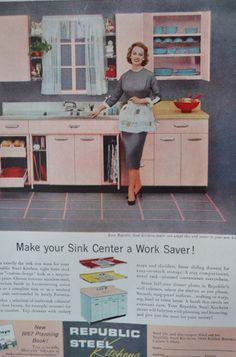 Vintage Ad Pink Kitchen 1958 Kitchen Ad Mid Century by TannaGail