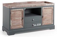 Mueble TV industrial Erutna   Material: Madera de Abeto   Erutna es una original combinacion de madera de abeto y metal, ambos en acabados patinado gris que aporta un estilo unico y difernciador ... Eur:445 / $591.85