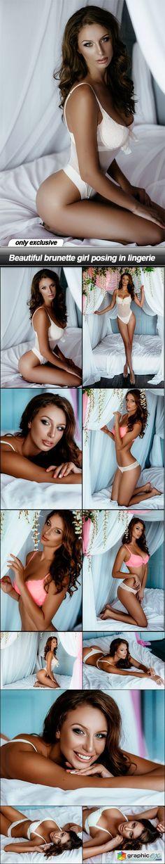 Beautiful brunette girl posing in lingerie  11 UHQ JPEG  stock images