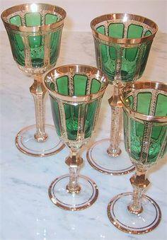 moser emerald gold panel goblets