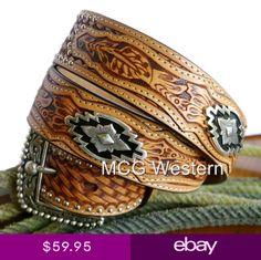 Ariat Western Mens Belt Leather Basketweave Tooled Sands Saddle A10009380 3a32f960732