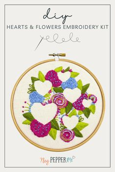 Hearts and Flowers Embroidery Kit tutorial for sewing a bouquet of pretty wild flowers, in pinks and blues. I really enjoyed stitching the flowers to reveal the hearts // Nog Pepper Me Modern Embroidery, Embroidery Patterns, Satin Stitch, White Gift Boxes, Handmade Products, Craft Kits, Art Market, Business Tips, Wild Flowers