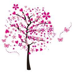 Fancy Pink Romantischer Baum Wandtattoo aus PVC