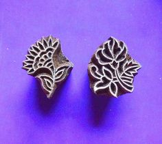 Small  Flower Set of Two Hand Carved Wood Pottery henna Stamp Indian Printing Block