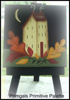 Primitive Mini Canvas Saltbox House Autumn Fall Leaves by Primgal