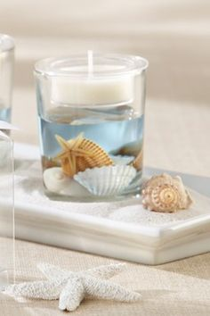 Seashell Gel Tealight Holder with Palm Wax Tealight Candle(can use a floting candle in water with blue food coloring instead)