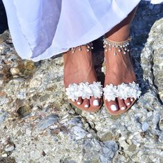 Handmade bohemian sandals, genuine Greek leather, Dream Catcher These sandals are decorated with lots of white pearls hanging on them and white flower in the front strap. Wedding Sandals For Bride, Bride Shoes, Wedding Bride, Tribal Fashion, Bohemian Fashion, Bohemian Sandals, Hippie Lifestyle, Boho Aesthetic, Boho Outfits