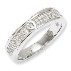 .925 Sterling Silver CZ Twist Ribbon Ring Sterling Silver Jewelry Available Exclusively at Gemologica.com