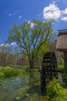 Waterwheel and blue sky, Azumino, Nagano, Japan