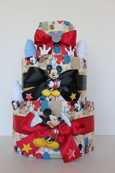 Disney+Mickey+Mouse+Baby+Diaper+Cake+by+RessellCustomBaby+on+Etsy,+$59.00