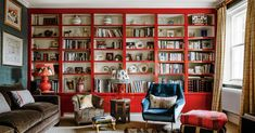 Returning to London from France, a photographer happened upon a house in Chelsea that felt incredibly familiar, and decided to combine two flats there to create an eclectic maisonette Living Room Red, Home And Living, Living Spaces, Red Bookcase, Built In Bookcase, Bookshelves, Saloon, Sweet Home, Home Libraries