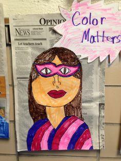 Self portraits as super hero. I like the newspaper background!