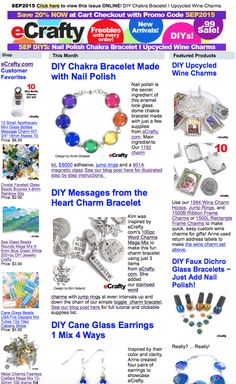 Save 20% at eCrafty.com use code SEP2015. News & DIYs for SEP: Chakra Nail Polish Bracelet, Stamped Message Charm Bracelet, Upcycled Wine Charms, Cane Glass Earrings 4 Ways #diy #crafts #etsy #handmade #jewelry #jewelry-supplies #beads #beading #diyjewelry