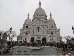 Sacre-Coeur #Paris #France  This famous basilica is located in the Montmarte section of Paris, on the highest hill in Paris.  It was built as a peace offering after the Franco-Prussain War of 1870-71.