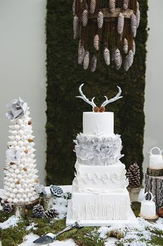 Love, love, love this unique winter wedding cake!  Winter Christmas Wedding Inspiration and themes in the Snow! via @bespokebride