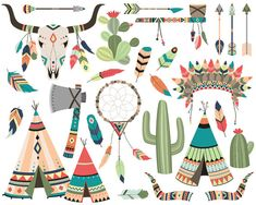 Tribal Clipart Set - Vector, PNG, & JPG Files - 300 DPI High Quality Cute Clip Art Feathers, Arrows, Skull, Cactus, Dream Catcher and More!