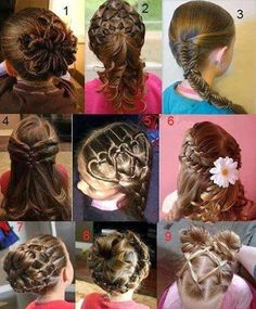 Cute hairstyles for girls.  This photo has been posted around the web so many times.  This post has the links to the actual tutorials.