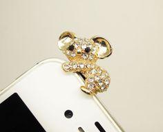 1PC Bling Crystal Gold Cute Koala Bear Cell by StudioHappyFish, $3.99