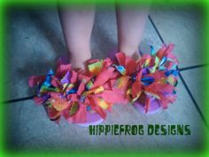 Fabric decorated flip flops in Hippiefrog Designs