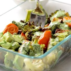 Crispy tender roasted veggies, buttery avocado, all tog. Crispy tender roasted veggies, buttery avocado, all together in a bowl with a drizzle of green tahini sauce. Perfect for meal prep! Veggie Dishes, Veggie Recipes, Whole Food Recipes, Cooking Recipes, Vegetable Snacks, Vegetable Bowl, Veggie Bowl Recipe, Veggie Cups, Whole Foods