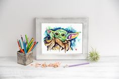 Excited to share this item from my #etsy shop: Baby Yoda Watercolor Art Print, Star Wars Fan Art, Yoda Painting, Kids room Wall Decor, Movie Poster, Mandalorian Octopus Wall Art, Star Wars Nursery, Animal Art Prints, Dragonfly Art, Turtle Painting, Cottage Art, Nature Artwork, Star Wars Fan Art, Insect Art