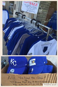 Royals Fans!  This rack only is 50% OFF REGULAR PRICE!  GOLD JERSEYS INCLUDED!  Also, 2 Styles of '47 Hats are $9.99