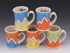Porcelain Coffee Mugs by Kelsey Nagy. Companion Gallery