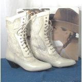 One of our most popular wedding/western frontier boot. The Cathedral Victorian Lace Up boot features lace inset shaft and boot heel. 100% leather construction for years of wear.