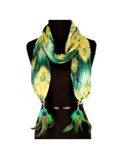 Green Exotic Peacock Print Scarf with Feather Pendants