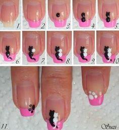 Schattige katten nagels
