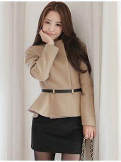 Gordania Beige & Black Solid Woolen Bodycon Dress #Dress
