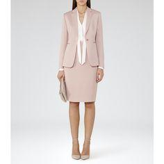 Lisa Jacket BLUSH SINGLE-BREASTED BLAZER ($225) ❤ liked on Polyvore featuring outerwear, jackets, blazers, single breasted jacket, single breasted blazer and blazer jacket