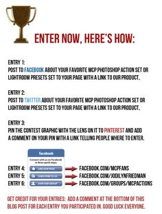Win a Tamron Lens 24-70 2.8 VC + Photoshop Actions or Lightroom Presets. Be sure and check it out at www.facebook.com/groups/mcpactions
