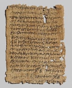 Letter in Greek, early 3rd century A.D. Roman, Egyptian; from Egypt. Papyrus. The papyrus contains a letter written by Heraclides to his brother Petechois. It is essentially a shopping list of items—poultry, bread, lupines, chick peas, kidney beans, and fenugreek at various prices—that Heraclides wants Petechois to bring him. Such documents provide important evidence for the level of literacy in the Roman world and offer an insight into the everyday lives of ordinary people.