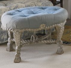A Napoleon III gray-painted rope-twist tabouret,in the manner of A.M.E. Fournier third quarter 19th century | $2.5K