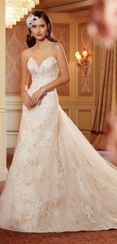 Sweet heart neckline and accents of gold ~ Sophia Tolli Spring 2014 Bridal Collection | bellethemagazine.com