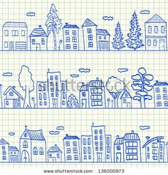 Houses doodles on school squared paper, seamless pattern - stock vector