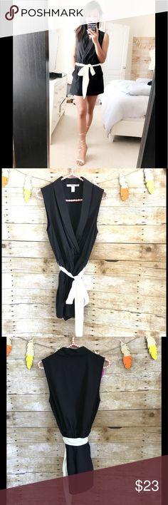 Forever 21 black sleeveless romper with white belt NWOT, only worn to model. Pockets on both sides Forever 21 Dresses Mini