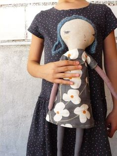 Eva Big doll. Linen and cotton in blue hair. by AntonAntonThings