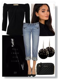 """Movie Night"" by easy-dressing ❤ liked on Polyvore featuring Michael Kors, Bourne, MICHAEL Michael Kors, WhatToWear, polyvoreeditorial and embellishedjeans"