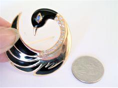 Vintage Swan Brooch / Pin / Bird Brooch / Pin / Swan Jewelry / Bird Jewelry / Rhinestone Brooch / Pin / Enamel Brooch / Pin by TamJewelryandUniques on Etsy