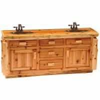 Fireside Lodge Traditional Cedar Log 72 Bathroom Vanity Base Only Fireside Lodge Cedar Furniture, Martin Furniture, Rustic Furniture, Cottage Furniture, Furniture Design, 72 Bathroom Vanity, Vanity Sink, Log Cabin Bathrooms, Mountain Cabin Decor